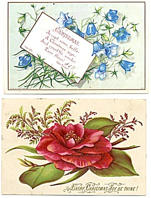 Vintage Christmas Cards Set Of 2 Flowers