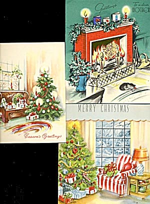 Vintage Christmas Cards Set Of 3