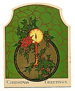 Vintage Christmas Card: Candle and Holly (Image1)