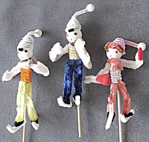 Vintage Pipe Cleaner Skaters Set Of 6