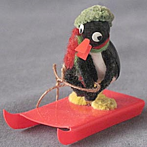 Vintage Pipe Cleaner Penguin Sledder