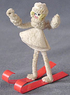 Vintage Pipe Cleaner & Celluloid Girl Skier
