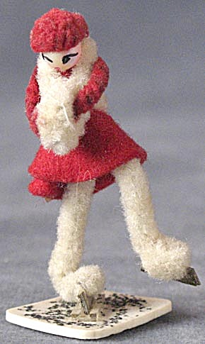 Vintage Pipe Cleaner & Celluloid Girl Skater