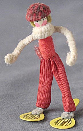 Vintage Pipe Cleaner & Celluloid Boy Snow Shoe