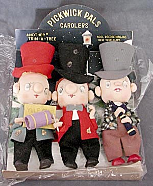 Vintage Pickwick Pals Carolers Christmas Decorations