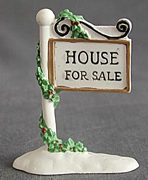 Snow Village House For Sale Sign