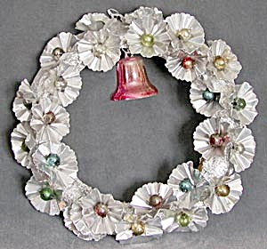 Vintage Aluminum & Foil Wreath With Pink Bell