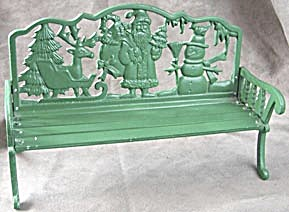 Vintage Green Santa Iron Doll Bench (Image1)