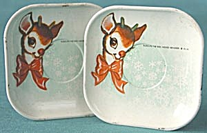 Vintage Rudolph the Red Nose Reindeer Doll Dishes (Image1)