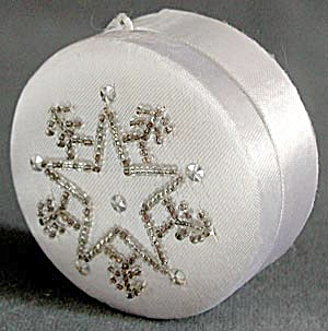 White Satin Beaded Box Christmas Ornament & Tin (Image1)