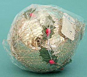 Blown Glass Christmas Ornament With Holly