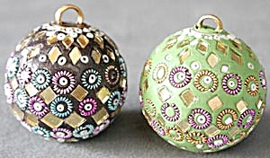 Mirrored And Beaded Christmas Ornaments Set Of 2