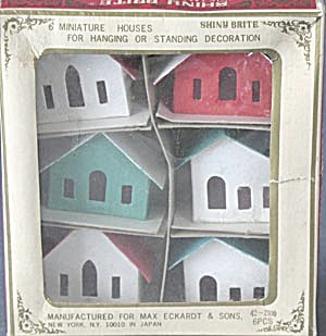 Shiny Brite Cardboard Houses Hang Or Stand Set Of 6
