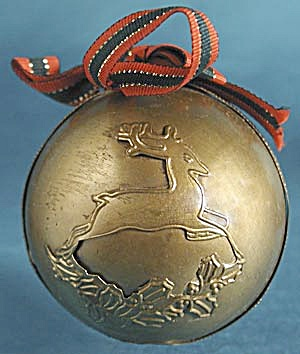 Brass Ball with Reindeer Christmas Ornament (Image1)
