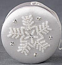White Satin Beaded Box Christmas Ornaments (Image1)