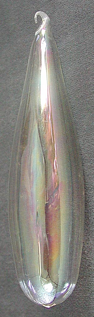 2  Different Iridescent Drop  Blown Glass Ornaments (Image1)
