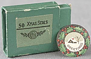 Vintage Tiny Christmas Seals in Original Box (Image1)