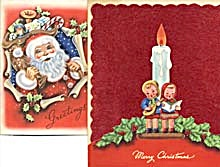 Vintage Christmas Cards Set Of 2