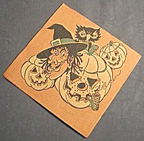 Vintage Witch, Owl and Jack O Lantern Halloween Napkin (Image1)