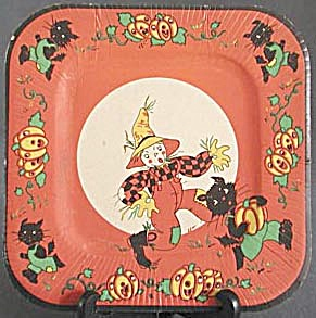 Vintage Childs Halloween Square Paper Plates set of 2 (Image1)