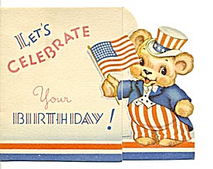 Vintage 4th of July Flag & Patriotic Bear Greeting Card (Image1)