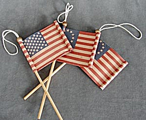 4th Of July Paper And Wood Flag Ornaments