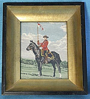 Vintage Petit Point Picture of Mountie on His Horse (Image1)