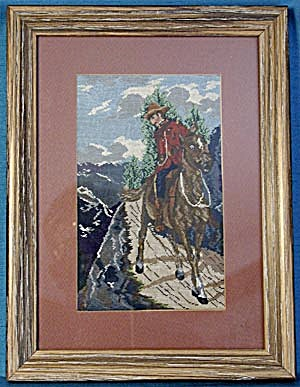 Vintage Petit Point Picture of Mounty Riding the Range (Image1)