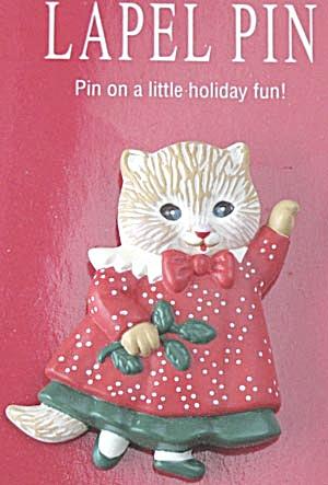 Hallmark Christmas 1991 Victorian Kitten Cat Pin (Image1)