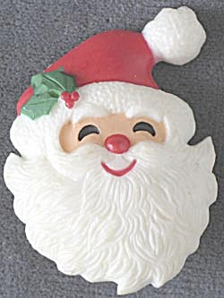 Hallmark Santa Face Holly on Hat  Pin (Image1)