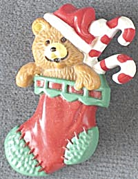 Hallmark Stocking with Teddy Bear and Candy Canes Pin (Image1)