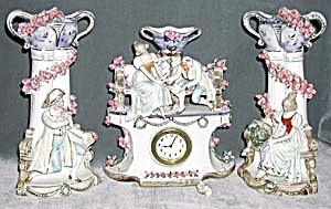 Vintage German Porcelain 3 Piece Lover's Clock Set (Image1)