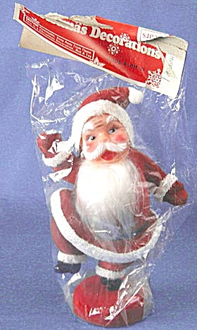 Vintage Red Flocked Santa Original Package