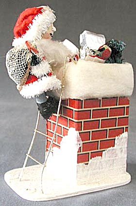 Vintage Santa In Chimney Decoration