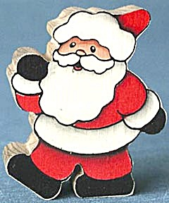 Hand Painted Wooden Santa