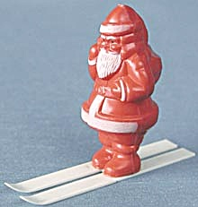 Vintage Plastic Santa On Skies