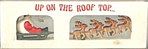 Vintage Dept 56 Up On The Roof Top Santa & Sleigh