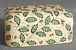 White Wooden Painted Box With Holly