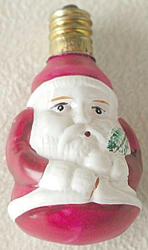 Vintage Short Santa Holding Sprig Figural Light (Image1)