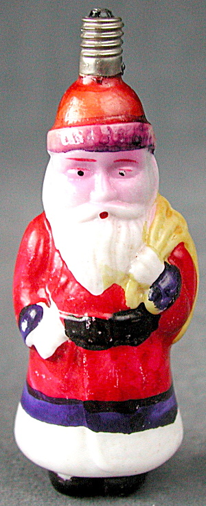 Vintage Santa With Yellow Sack Christmas Light