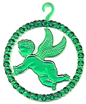 Vintage Plastic Angel Circle Christmas Ornament (Image1)