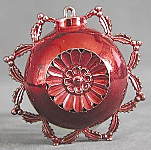 Vintage Red Plastic Christmas Ornament