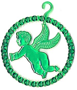 Vintage Green Plastic Angel Circle Christmas Ornament