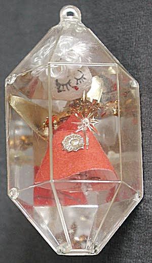 Vintage Clear Plastic Christmas Ornament Angel (Image1)