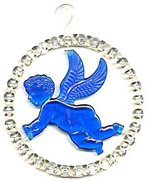 Vintage Blue Plastic Angel Circle Christmas Ornament (Image1)