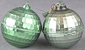 Vintage Green Plastic Disco Ball Christmas Ornaments (Image1)