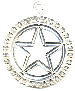 "Vintage 3"" Plastic Star Circle Christmas Ornament (Image1)"