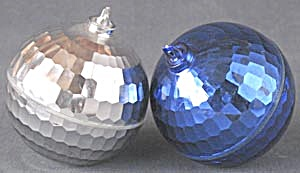 Vintage Blue & Silver Plastic Disco Ball Ornaments