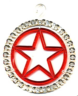Clear & Red Plastic Star Circle Christmas Ornament (Image1)