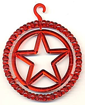 Vintage Red Plastic Star Circle Christmas Ornament